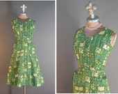 50s dress 1950s vintage BLUE GREEN MIDCENTURY mcm print cotton fit and flare full skirt dress