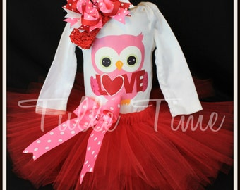First 1st Valentines LOVE owl body suit onesie tutu dress outfit with bow sizes N 0-3 m, 3-6m,  6-12m, 12m 18m