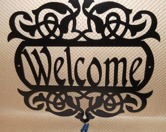 Welcome Sign, Scroll, Wall art, outdoor sign, housewarming gift, Wall decor, Front door, House sign, entry way, Metal Art, Jet Black River