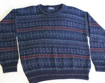 Free shipping Vintage Navy Print Van Heusen Acrylic Sweater