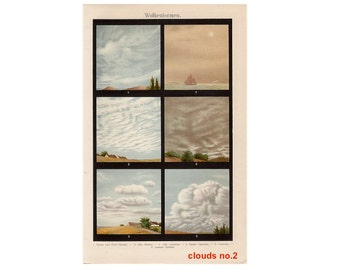 1903 ANTIQUE CLOUD LITHOGRAPH - original antique print - atmospheric weather climate clouds sky landscape cloud formation  meteorology