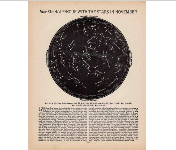 1910 OCTOBER NOVEMBER STAR chart antique lithograph - original antique print - celestial astronomy constellation astral sidereal stellar map