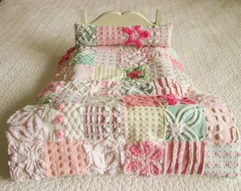 Vintage Chenille Bedspread American Girl DOLL Quilt and Pillow - Custom Order