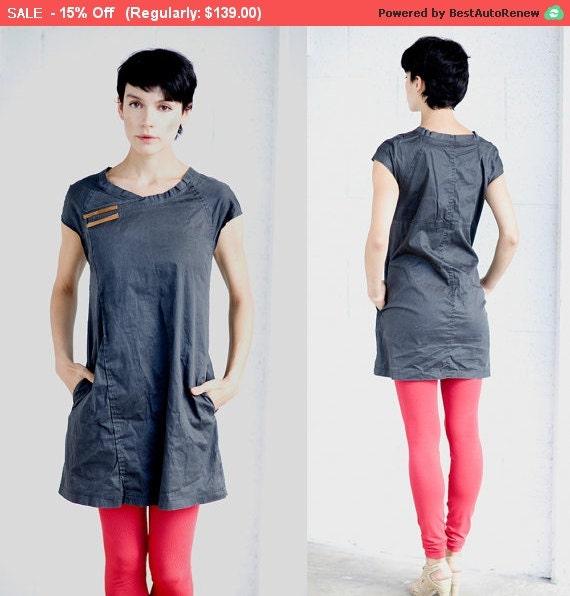 Winter Sale 15% Off!!! A line black stone washed cotton denim asymmetrical mini dress