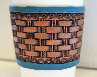 Leather Coffee Sleeve / Leather Coffee Cozy / Leather Tooling craft / Reusable Leather Coffee