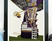 Science Poster Art Print Original Illustration - Mars Radio Antenna - Deep Space Network - Science Poster Print - Stellar Science Series