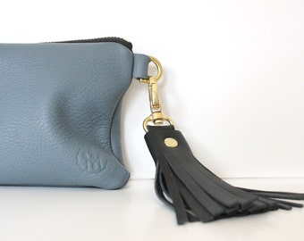 LUCIE Leather SLATE BLUE wallet leather with black tassel