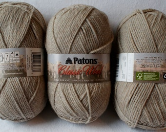 Patons Classic Wool Yarn,100% Pure New Wool,3.5 oz,Natural Mix,Color 00229,Knitting Supplies,Crochet Supplies,Felt Supplies,Craft Supplies