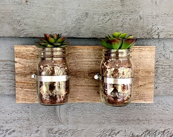Mason Jar Wall Hanging Planter / Organizer Decor