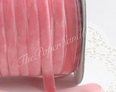 """Pink Velvet Ribbon, 3/8"""" Wide by the yard, Pink Velvet Trim, Velvet Chockers, Weddings, Gift Wrapping, Sewing, Baby Girl, Party Supplies"""