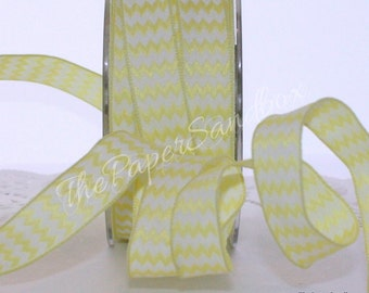 """Wired Yellow Chevron Striped Ribbon, 5/8"""" wide Ribbon by the yard, Crafts, Gift Wrap Wreaths, Scrapbooking, Sewing, Trim, Party Supplies"""