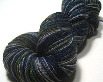 Sock yarn fingering weight hand dyed superwash merino & nylon - Stream Bed - painted blue green gray knitting yarn skein