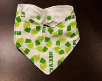 Reduce reuse recycle Drool bandana bib/green/eco friendly/sustainable/natural/earth/drool/bib/teething