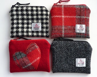 HARRIS TWEED coin purse - choice of red or black tweeds - zipped pouch - coin purse - change purse - Handmade in Scotland