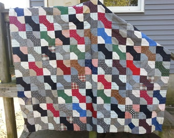 """Vintage Machine Stitched Unfinished """"Bowtie"""" Quilt Top - Roughly 70"""" x 80"""""""