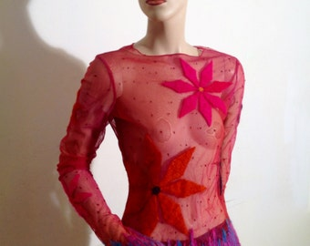 Designer Hot Pink Net Mod Top by Guerriero of Italy with Bold Embroidered Flowers and Art Fringe  Size M