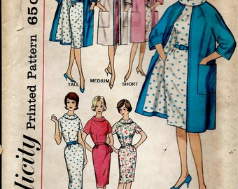 UNCUT 1960's Simplicity No. 4294  - Wiggle Dress and Coat , Proportioned Pattern Fitted Dress with Cowl Neckline  Bust  36