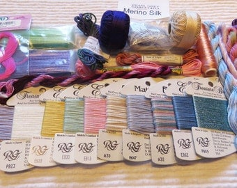 SIXTY, 60, different fibers, silk, overdye, metallic, cotton, needlepoint, embroidery, threads, fibers, skeins, cards