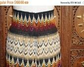 ON SALE 1970s Zig Zag Print Knit Sweater Maxi Skirt Sz XS