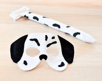 Children Dog Costume, Kids Dalmatian Mask and Tail,  Halloween Carnival Dress up Pretend Play Felt Toy