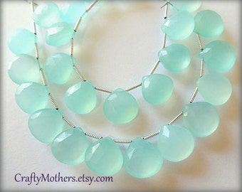 Aqua Blue Chalcedony Faceted Heart Briolettes, (1) Matched Pair, 12mm, seafoam pastel blue green