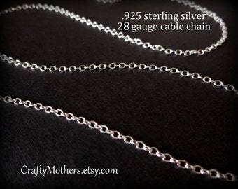 TAKE10 for 10% off! Sterling Silver Bulk Fine CABLE Chain, 18 Inches, 28 gauge (links measure 2mm x 1.5mm), ready to finish necklace