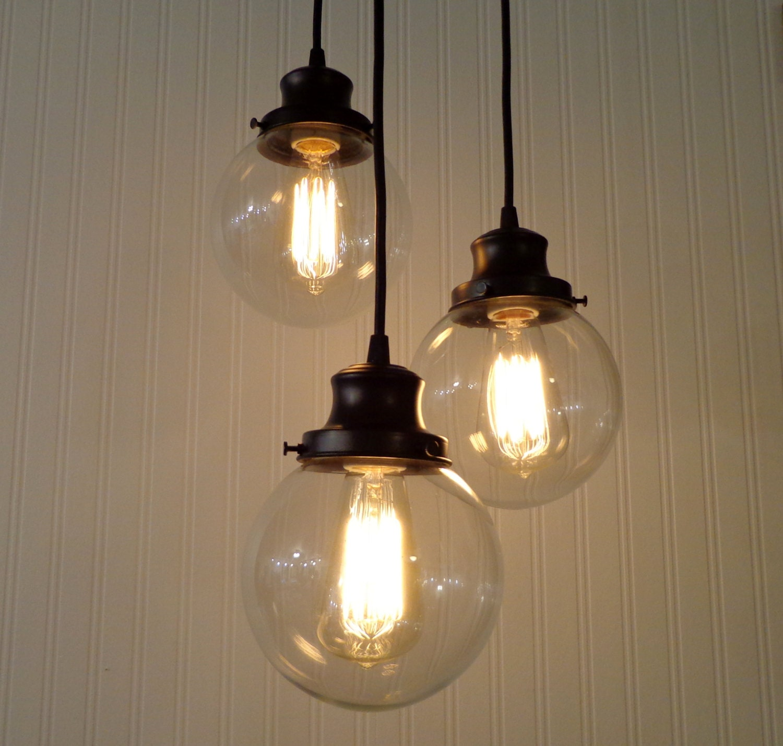 Biddeford II CHANDELIER Light Trio Glass Ceiling Flush