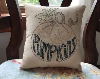 Primitive Country Shabby Halloween Pumpkin Face Stitchery Pillow