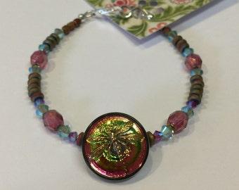 Czech Glass Dragonfly Button Bracelet with Swarovski Crystal Beads