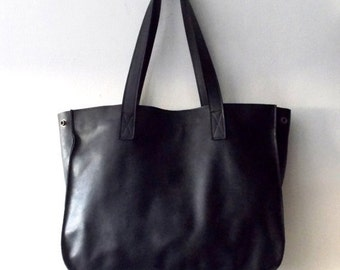 ON SALE black leather tote,Every day bag, Woman bag