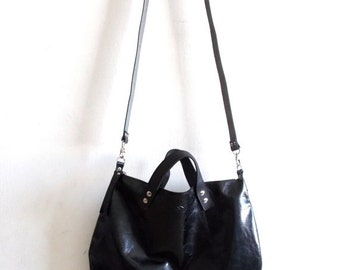 ON SALE Black leather bag  Handbag - Cross-body bag