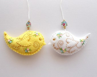 Felt Ornaments Yellow and White Bird Set with Sequin Flowers  and Lampwork Flower Beads Hand Embroidered Handsewn