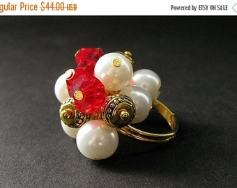BACK to SCHOOL SALE Red Cluster Ring in Crystal, Pearl and Gold. Handmade Jewelry by Gilliauna