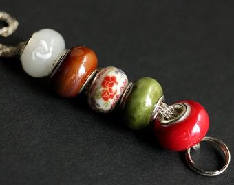 Badge Necklace. Chain Lanyard. Red Lanyard. Badge Neck Holder. Green Lanyard. Badge Holder for Women. Flower Lanyard. Handmade Lanyard.
