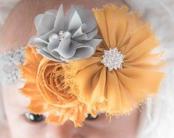 mustard flower headband, gray elastic headband, wedding flower girl, gold headband, bridal hair piece, girl headband, baby headband, baby