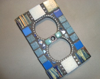 MOSAIC Electrical Outlet COVER , Wall Plate, Wall Art, Blue, White, Silver
