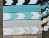 5 Pack Gold Foil Arrow Chevron Inspired Knot Hair Ties Fold Over Elastic Stretch Bracelet by Whimsical Elements