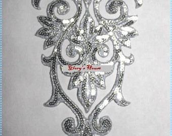 """GB345 Silver Bodice Yoke Sequin Applique Floral Motif 9.75"""" (GB345-sl)"""