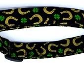 Your Lucky Collar Horseshoes and Shamrocks Irish St. Patricks Day 4 Leaf Clover Dog Collar