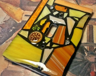 Yellow Mix - STAINED GLASS MOSAIC Light Switch Cover -single, double, triple, outlet, or decora (flapper style) gfci - Made to order