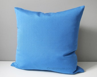 Blue Outdoor Pillow Cover, Decorative Solid Blue Pillow Cover, Modern Throw Pillow Cover, Capri Sunbrella Pillow Cushion Cover, Mazizmuse