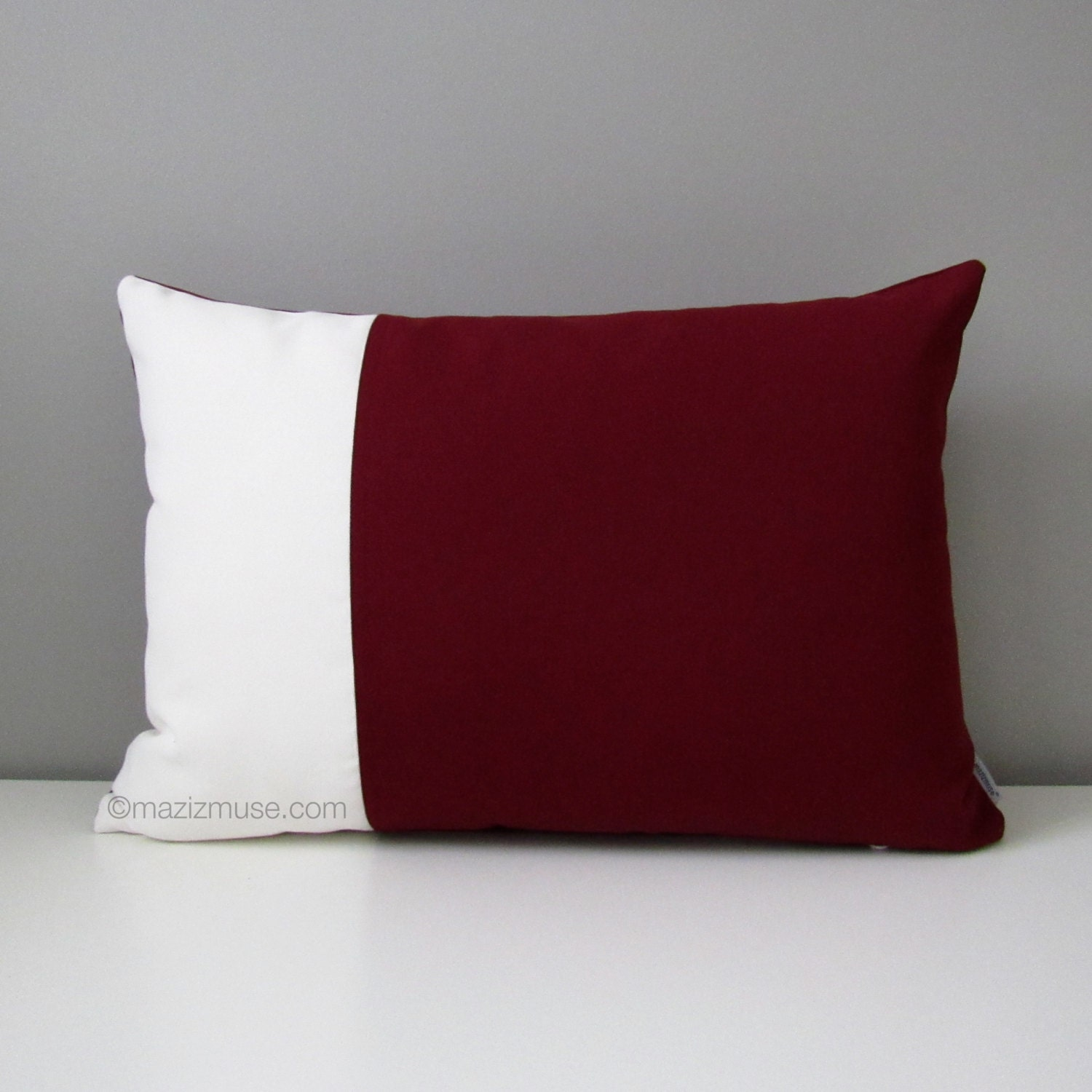 Burgundy & White Outdoor Pillow Cover Modern Color Block