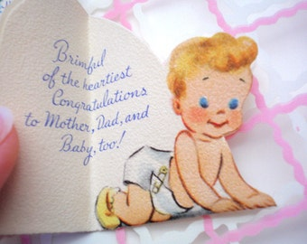 Vintage BABY SHOWER Card - UNUSED 1950s New Baby w/ Bottle Card - Gift Card on Plastic