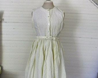 Vintage Dress, Sundress, Sleeveles Cotton Sundress, Yellow Seersucker Dress, Garden Party Sun Dress Size Medium, Vintage 1960s Cotton Dress