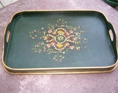 Large tray  hand painted, old rare, in great shape, gold leaf along edge