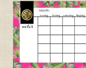 Monthly Calendar - Desk Calendar in BANANA LEAF Collection by A Blissful Nest