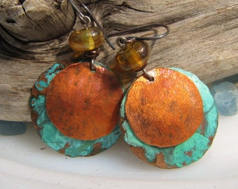 Golden Globes Copper Earrings Blue Patina  Copper Jewelry Lampwork Beads