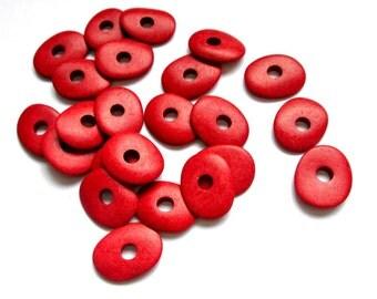 Greek ceramic beads, red pebble beads, cornflake beads, 20 pieces
