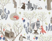 FoxTail Forest Rae Ritchie Fabric TreeTop Party Whimsical Woodland Animals Fox Bear Raccoon