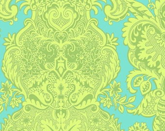 Amy Butler Love Sandlewood Turquoise Aqua Blue Lime Green Damask Fabric